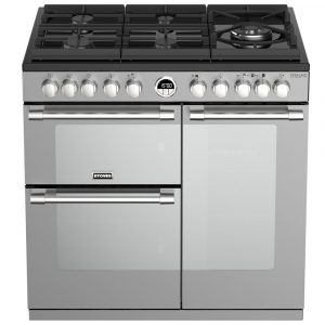 Stoves STERLING DX S900DFGTGSS 4934 Sterling Deluxe 90cm Gas On Glass Dual Fuel Range Cooker – STAINLESS STEEL