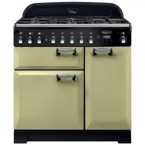 Rangemaster ELA90DFFOG/ Elan Deluxe 90cm Dual Fuel Range Cooker 118140 – OLIVE GREEN