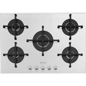 Smeg PV175B2 72cm Linea 5 Burner Gas On Glass Hob – WHITE