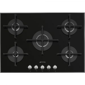 Smeg PV175N2 72cm Linea 5 Burner Gas On Glass Hob – BLACK
