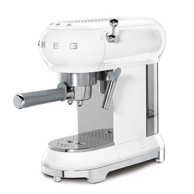 Smeg ECF01WHUK Freestanding Retro Espresso Coffee Machine - WHITE