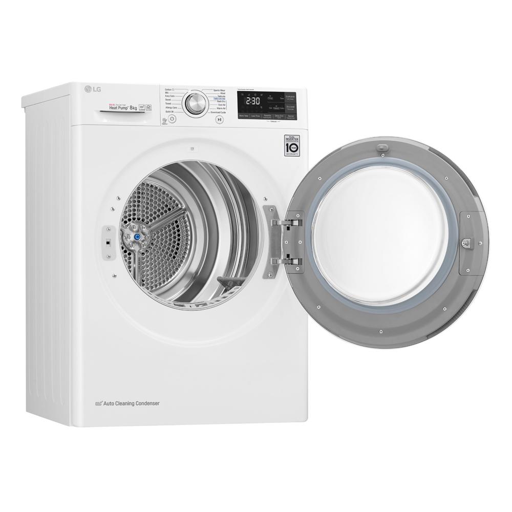 LG RC80U2AV2W 8kg Eco Hybrid Heat Pump Condenser Tumble Dryer - WHITE