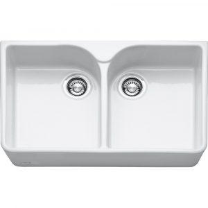 Franke VBK720WH Belfast Double Bowl Ceramic Sink – WHITE