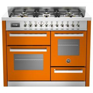 Bertazzoni PRO110-6-MFE-T-ART 110cm Professional XG Dual Fuel Range Cooker – ORANGE