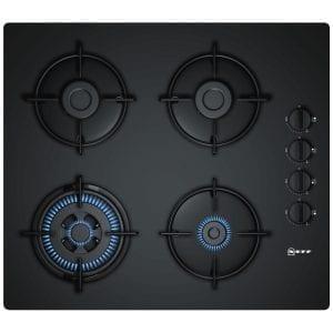 Neff T26CR51S0 60cm 4 Burner Gas On Glass Hob – BLACK