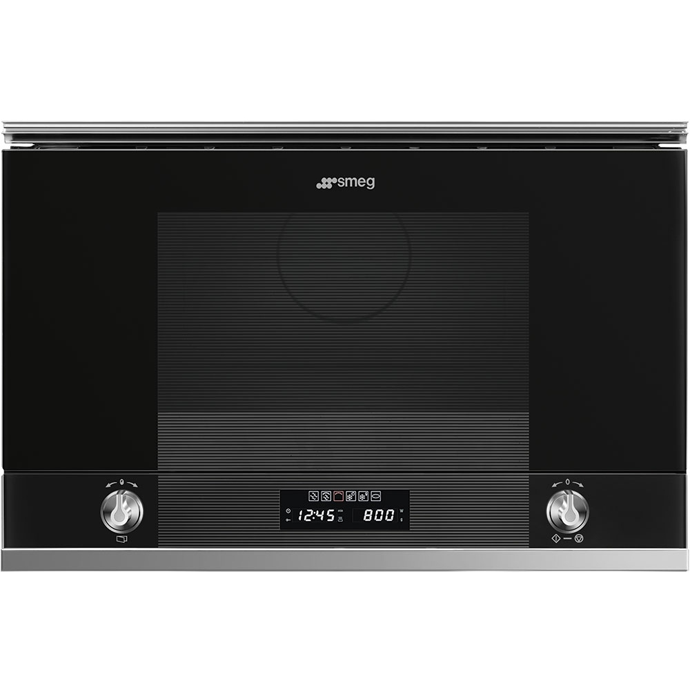 Smeg MP122N1 Linea Built In Microwave & Grill For Wall Unit - BLACK