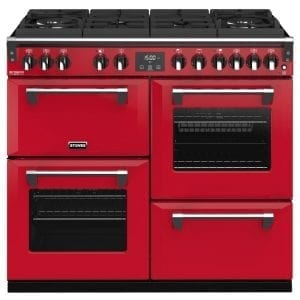 Stoves RICHMOND DX S1000DFGTGCBHJA Richmond 1000mm Gas On Glass Dual Fuel Cooker – RED