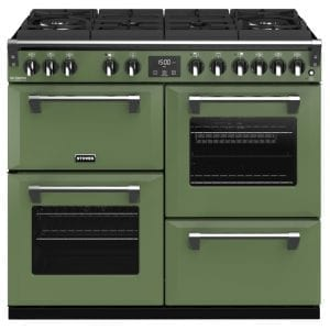 Stoves RICHMOND DX S1000DFGTGCBSGR Richmond 1000mm Gas On Glass Dual Fuel Cooker – GREEN