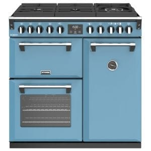 Stoves RICHMOND DX S900DFGTGCBDAB Richmond 900mm Gas On Glass Dual Fuel Cooker – BLUE
