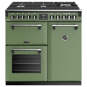 Stoves RICHMOND DX S900DFGTGCBSGR Richmond 900mm Gas On Glass Dual Fuel Cooker – GREEN