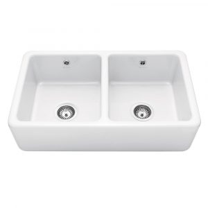Caple KEMPTON Kempton 80cm Double Bowl Ceramic Sink – WHITE