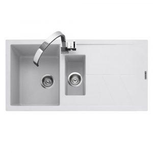 Caple SOT150CW Sotera 150 1.5 Bowl Inset Sink Reversible Drainer – WHITE