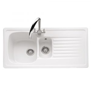 Caple ASH15W Ashford 150 1.5 Bowl Inset Sink Reversible Drainer – WHITE