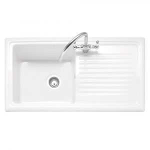 Caple WIL100 Wiltshire 100 Single Bowl Inset Sink Reversible Drainer – WHITE