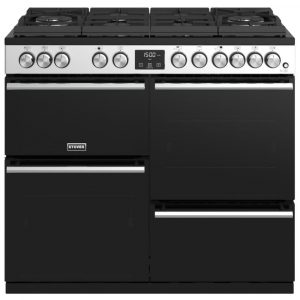 Stoves PREC DX S1000DFGTGSS Precision Deluxe 100cm Gas On Glass Dual Fuel Range Cooker 10752 – STAINLESS STEEL