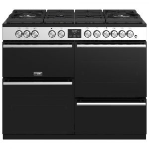 Stoves PREC DX S1100DFGTGSS Precision Deluxe 110cm Gas On Glass Dual Fuel Range Cooker 10754 – STAINLESS STEEL