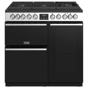 Stoves PREC DX S900DFGTGSS Precision Deluxe 90cm Gas On Glass Dual Fuel Range Cooker 10750 – STAINLESS STEEL