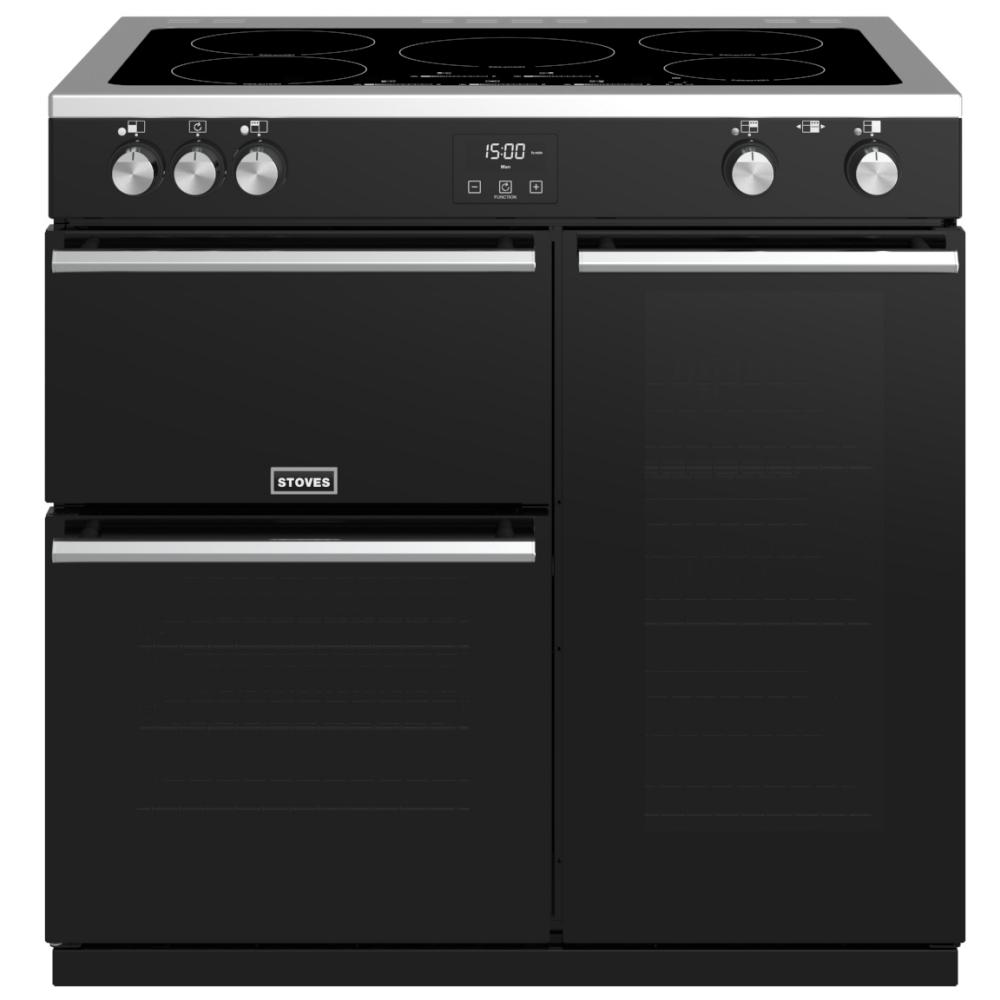 Stoves PREC DX S900EIBK Precision Deluxe 90cm Induction Range Cooker 10755 - BLACK