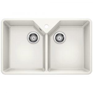 Blanco VILLAE FARMHOUSE DOUBLE CRYSTAL WHITE Ceramic Double Bowl Sink BL468491 – WHITE