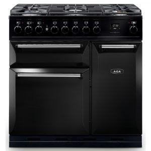 AGA Masterchef MDX90DFBLK Masterchef Deluxe 90cm Dual Fuel Range Cooker 121230 – BLACK