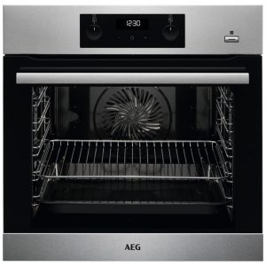 AEG BES355010M Built In SteamBake Single Multifunction Oven – STAINLESS STEEL
