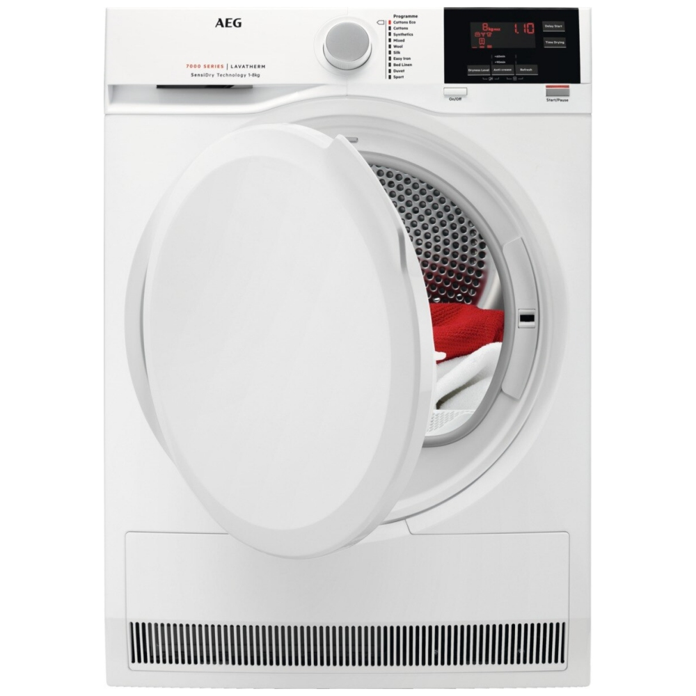 AEG T7DBG840N 8kg Heat Pump Condenser Tumble Dryer - WHITE