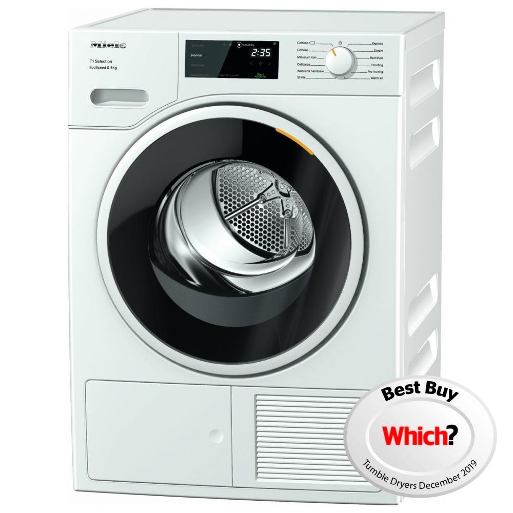 Miele TSF643WP 8kg Heat Pump Condenser Tumble Dryer - WHITE