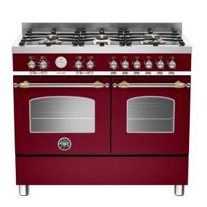 Bertazzoni HER100-6-MFE-D-VIT 100cm Heritage Dual Fuel Range Cooker – BURGUNDY