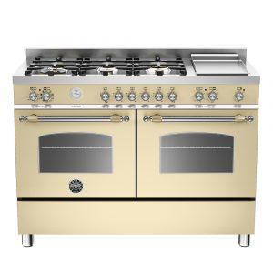 Bertazzoni HER120-6G-MFE-D-CRT 120cm Heritage Dual Fuel Range Cooker – CREAM