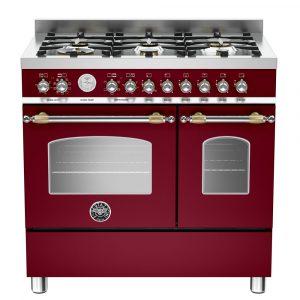 Bertazzoni HER90-6-MFE-D-VIT 90cm Heritage Dual Fuel Range Cooker – BURGUNDY