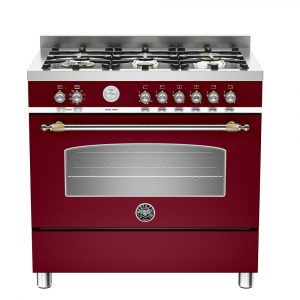 Bertazzoni HER90-6-MFE-S-VIT 90cm Heritage Dual Fuel Range Cooker – BURGUNDY