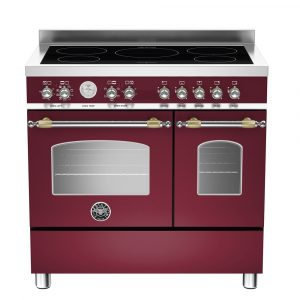 Bertazzoni HER90-5I-MFE-D-VIT 90cm Heritage Induction Twin Range Cooker – BURGUNDY
