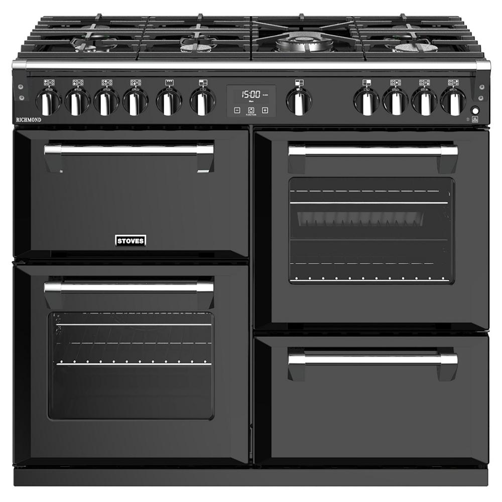 Stoves RICHMOND S1000GBK 10800 Richmond 100cm Gas Range Cooker - BLACK