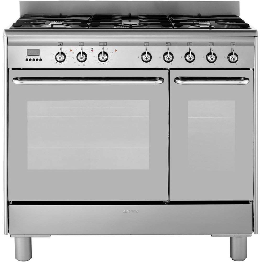 Smeg CG920PC9 90cm Pyrolytic Dual Fuel Range Cooker - STAINLESS STEEL