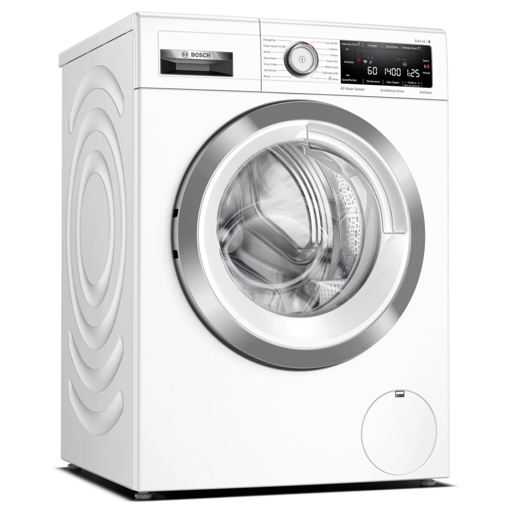Bosch WAV28MH3GB Serie 8 Freestanding Washing Machine, with Home Connect, SpeedPerfect & AntiStain, 9kg load, 1400rpm spin - White