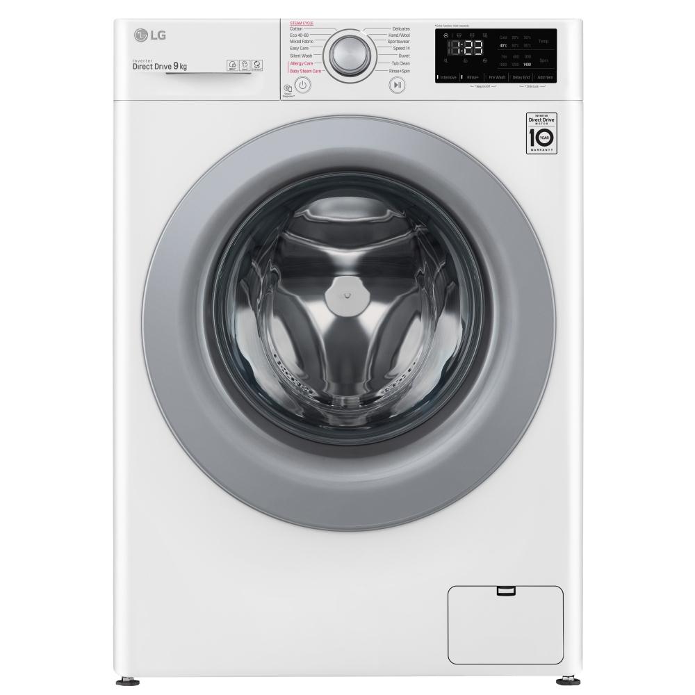 LG F4V309WSE 9kg Steam Washing Machine 1400rpm - WHITE