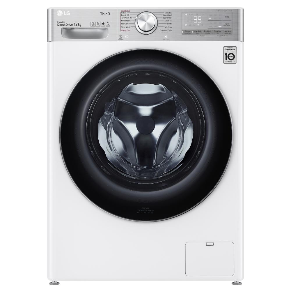 LG F4V1012WTSE 12kg Steam Washing Machine 1400rpm - WHITE