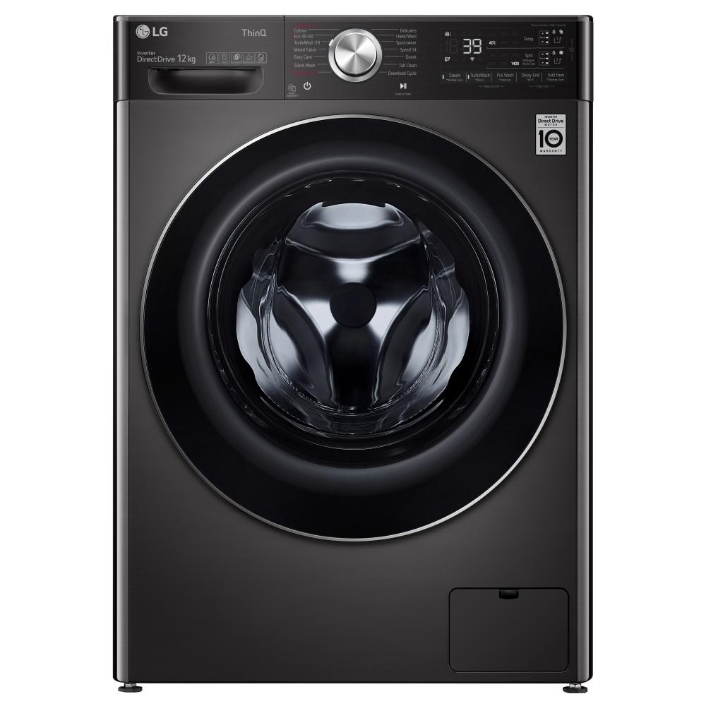 LG F4V1112BTSA 12kg Autodose Steam Washing Machine 1400rpm - BLACK STEEL