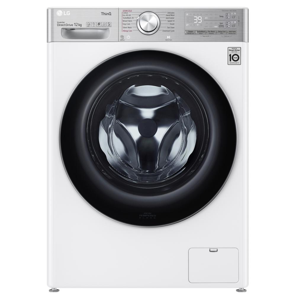 LG F4V1112WTSA 12kg Autodose Steam Washing Machine 1400rpm - WHITE