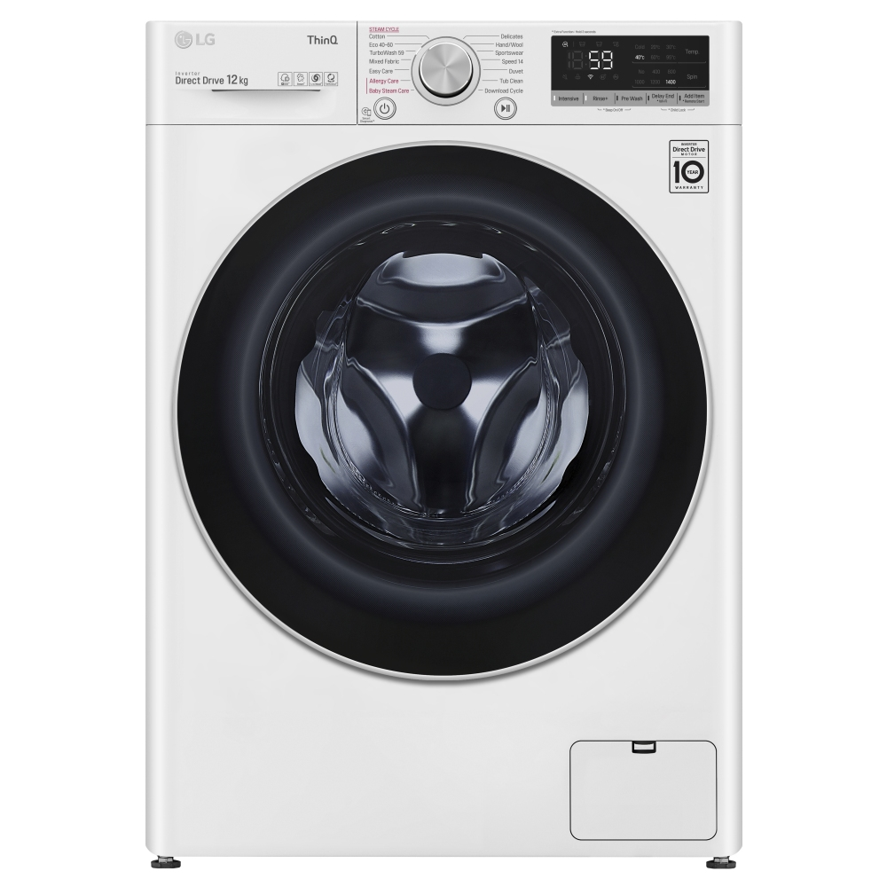 LG F4V712WTSE 12kg Steam Washing Machine 1400rpm - WHITE